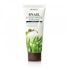 крем для ног и рук с муцином улитки deoproce hand & foot snail recovery