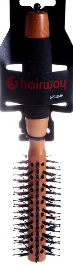 HAIRWAY Брашинг Profi деревянный, с отверстиями, натуральная щетина, черные штифты 18 мм
