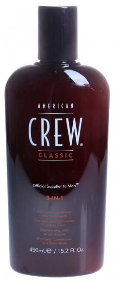 AMERICAN CREW Средство для волос 3 в 1, для мужчин (шампунь, кондиционер и гель для душа) 450 мл