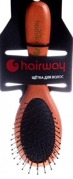 HAIRWAY Щетка Black Cushion массажная, деревянная, металлические зубцы