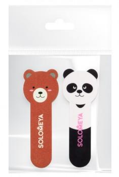 SOLOMEYA Набор для натуральных и искусственных ногтей (пилка Медвежонок и полировщик для ногтей Маленькая панда)
