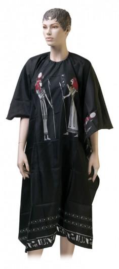 DEWAL PROFESSIONAL Пеньюар для стрижки Египет, нейлон, на крючках, черный 124х146 см