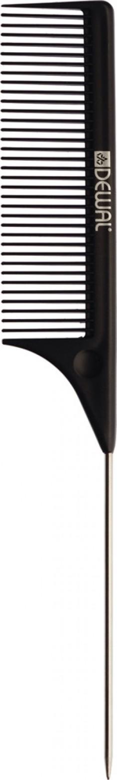 DEWAL PROFESSIONAL Расческа рабочая Magnesium с металлическим хвостиком (черная) 21,9 см
