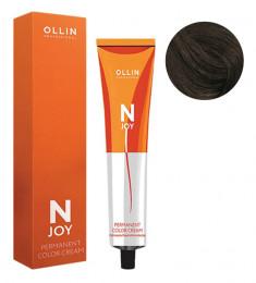 OLLIN PROFESSIONAL 4/71 крем-краска перманентная для волос, шатен коричнево-пепельный / N-JOY 100 мл