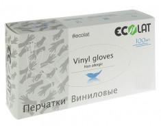 ECOLAT Перчатки виниловые, прозрачные, размер XS / EcoLat 100 шт