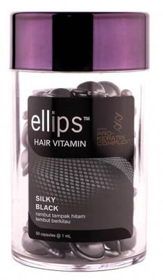 ELLIPS Масло для питания и блеска темных волос, черно-серые капсулы / Pro Keratin Complex Silky Black 50 шт (45 г)