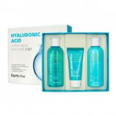 набор средств по уходу за кожей с гиалуроновой кислотой farmstay hyaluronic acid super aqua skin care 3 set