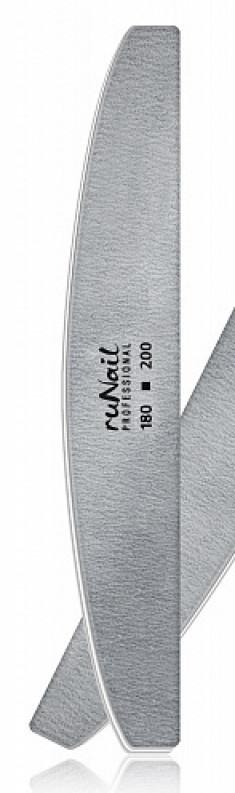 RUNAIL Пилка профессиональная полукруглая для искусственных ногтей, серая 180/200