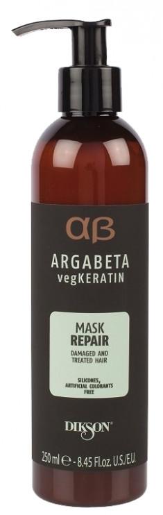 DIKSON Маска с гидролизированными протеинами риса и сои для ослабленных и химически обработанных волос / ARGABETA Mask REPAIR 250 мл