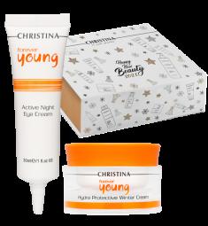 CHRISTINA Набор Активное увлажнение (крем 50 мл, ночной крем для кожи вокруг глаз 30 мл, коробка-пенал) Forever Young