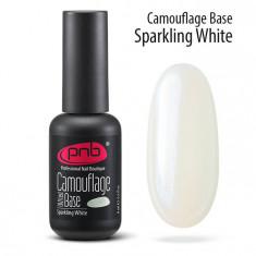 PNB База каучуковая камуфлирующая искристая белая / Camouflage Base PNB UV/LED, Sparkling W 8 мл